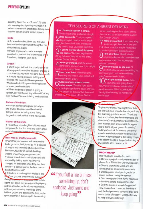 The article page for the Great Speechwriting Article in Cosmo Bride