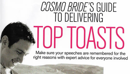 The title page for the Great Speechwriting Article in Cosmo Bride
