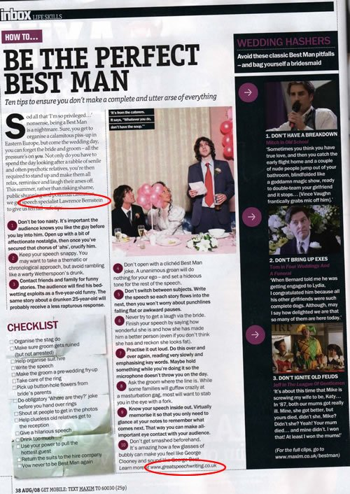 Great Speechwriting appears in Maxim Magazine
