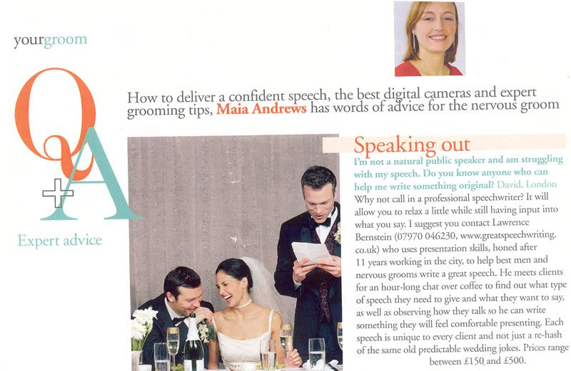 Great Speechwriting Article in You and Your Wedding Magazine