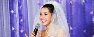 An image of a bride making a wedding speech.