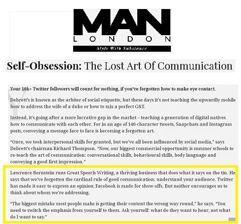 Man of London article - effective communication