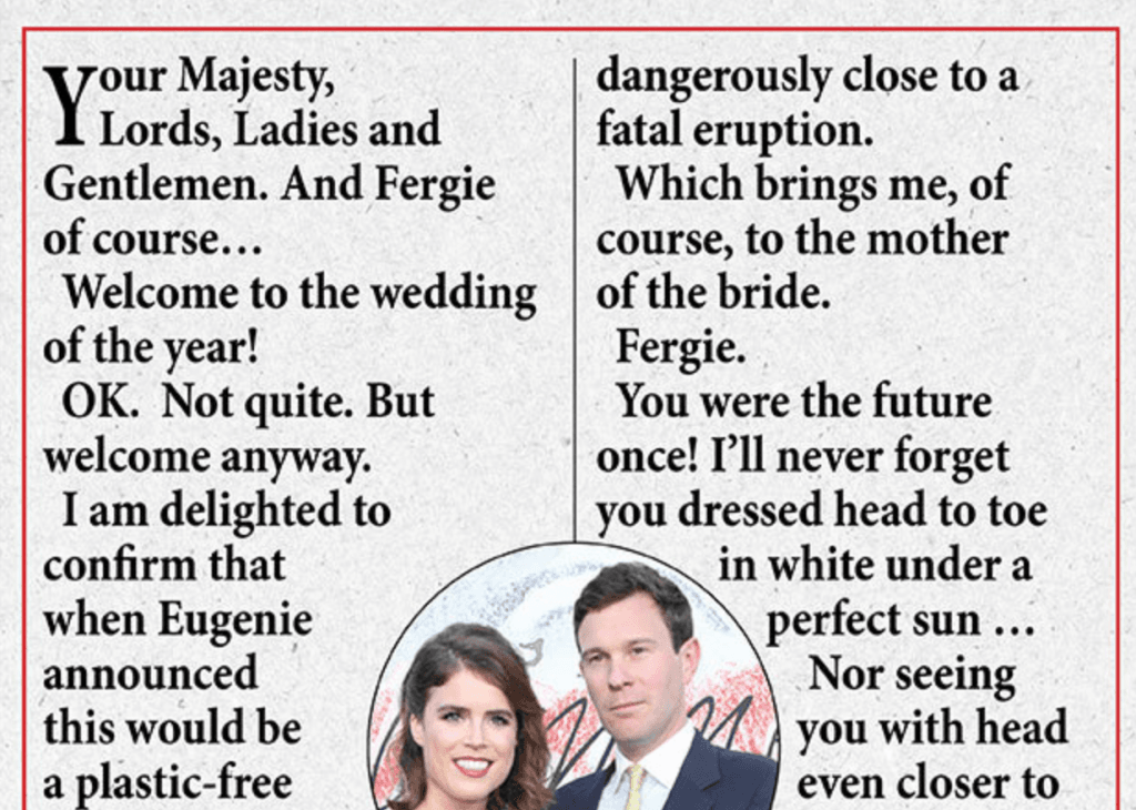 Prince Andrew wedding speech